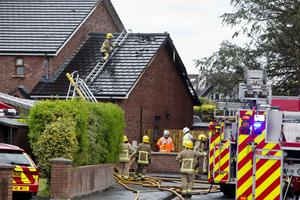 Fire service at the scene of a serious house and oil tank fire at Inishowen Park, Portstewart. Pic Steven McAuley/McAuley Multimedia