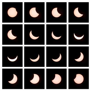 A combo of 16 pictures taken on March 20, 2015 in Gaiberg near Heidelberg, southwestern Germany, shows a partial solar eclipse from the beginning (top, L) to the end (bottom, R). A partial eclipse of varying degrees is visible, depending on weather conditions, across most of Europe, northern Africa, northwest Asia and the Middle East, before finishing its show close to the North Pole.   AFP/Getty Images