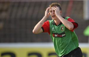 ?Russell Pritchard  11th July 2013 Football : Europa League Qualifier 2nd Leg Match between Glentoran and KR Reykjavik at The Oval, Belfast Glentorans Jay Magee reacts at Thursday Nights 2nd Leg Europa League Qualifier. ?Russell Pritchard / Presseye