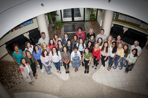 Ms. Marguerite Hamilton, Principal, Thornhill College, Derry pictured with the school's top A Level students and their teachers at the school yesterday morning after the student received their results.