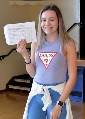 15th August 2019. Portadown College 'A' Level Results  Hannah Porter who achieved 1-A*, 1-A and 1-C grades at 'A' Level.  Photo by Tony Hendron.