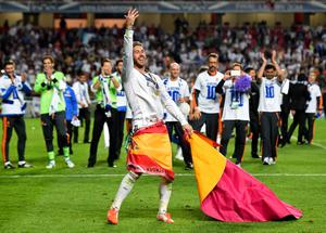 LISBON, PORTUGAL - MAY 24:  Sergio Ramos of Real Madrid celebrates victory during the UEFA Champions League Final between Real Madrid and Atletico de Madrid at Estadio da Luz on May 24, 2014 in Lisbon, Portugal.  (Photo by Shaun Botterill/Getty Images)