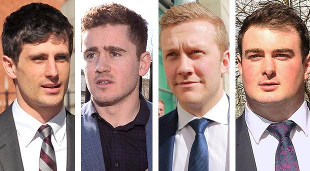 Blane McIlroy, Paddy Jackson, Stuart Olding and Rory Harrison.