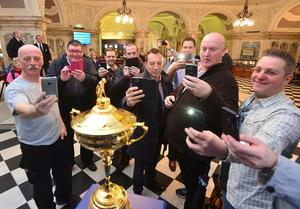 The Ryder Cup Trophy Tour on Wednesday 13th April, gave Northern Irish golf fans the opportunity to get up close and personal to the famous trophy, when it was on public display at Belfast City Hall.   Picture By: Arthur Allison.