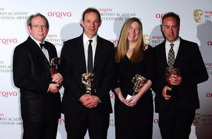 Left to right. Jon Plowman, John Morton, Catherine Gosling Fuller and Paul Schlesinger with the Situation Comedy Award for Twenty Twelve, at the 2013 Arqiva British Academy Television Awards at the Royal Festival Hall, London. PRESS ASSOCIATION Photo. Picture date: Sunday May 12, 2013. See PA story SHOWBIZ Bafta. Photo credit should read: Ian West/PA Wire