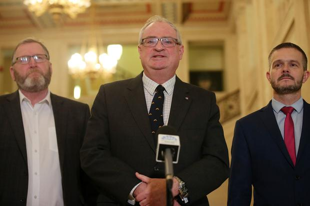 UUP leader Steve Aiken and party colleagues talk to the press in the Great Hall at Parliament Buildings, Stormont, as all party talks continue to try and get the Northern Ireland Assembly up-and-running again. Photo by Jonathan Porter / Press Eye