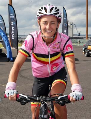 Trudy Brown from Belfast saddles up for the Gran Fondo. Pic: Freddie Parkinson/Press Eye.