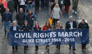 A march commemorating the 50th anniversary of the historic civil rights rally in Londonderry leaves Duke Street for Shipquay street on October 6th 2018 (Photo by Kevin Scott / Belfast Telegraph)