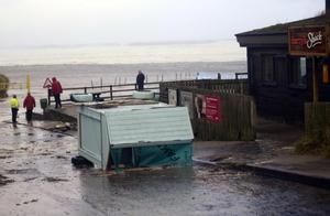 Damage caused to Harry's Shack  in Portstewart  which  flooded after heavy winds hitting parts  across the North Coast in Northern Ireland  Pic Colm Lenaghan/Pacemaker