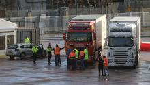 Lorry drivers and officials talk at the DEARA site near Belfast Port, as the UK leaves the single market and customs union and the Brexit transition period comes to an end (Liam McBurney/PA)