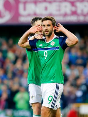 Will Grigg scores in action during the friendly between Northern Ireland and Belarus as the last home game before heading to the Euros. Photo by Kevin Scott / Presseye