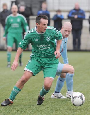 Action from Crumlin Star v Institute in the  Intermediate Cup Fourth Round