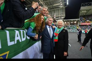 PACEMAKER BELFAST  08/10/2016 Northern Ireland v San Marino World Cup qualifier Group C The official opening of the National Stadium this evening Pat Jennings & Mary Peters pictured Photo Colm Lenaghan/Pacemaker Press