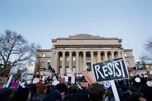 Columbia University students gather to protest President Donald Trump's immigration order Monday, Jan. 30, 2017, in New York. President Trump's executive order, signed on Friday, restricts travelers from seven predominantly Muslim countries. (AP Photo/Frank Franklin II)