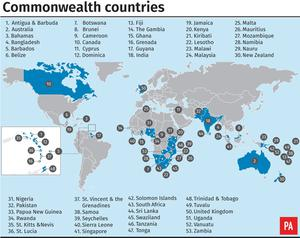 Commonwealth countries (PA Graphics).