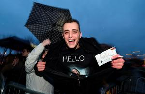 Adele fan Adam Bazuin from the Netherlands pictured at the front of the queue outside the SSE Arena on February 29, 2016 in Belfast, Northern Ireland.   (Photo by Charles McQuillan/Getty Images)