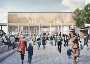 An artist's impression of the proposed Belfast Transport Hub