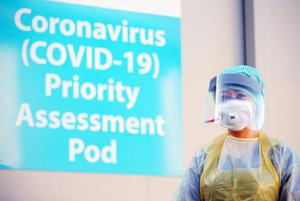 A mock-up at Antrim Area Hospital Emergency Department demonstrating how members of the public can be assessed for coronavirus. Picture by Jonathan Porter/PressEye