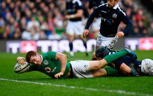 Ireland player Paddy Jackson dives over to score during the RBS Six Nations match between Scotland and Ireland at Murrayfield Stadium on February 4, 2017 in Edinburgh, Scotland.  (Photo by Stu Forster/Getty Images)