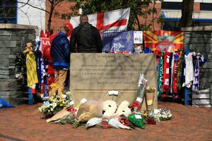 A tribute to the 96 fans who died during the Hillsborough disaster, outside the ground before the Sky Bet Championship match at Hillsborough, Sheffield