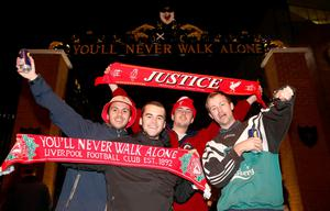 Liverpool fans outside of Anfield before the EFL Cup, round of 16 match at Anfield, Liverpool. PA