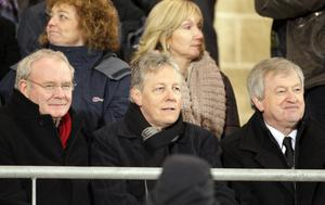 PACEMAKER BELFAST 28/01/2012 - Power NI Dr McKenna Cup Final, Tyrone v Derry, at Armagh. Peter Robinson, accompanied by Martin McGuinness, attended the McKenna Cup final.