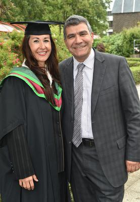 Ulster University Graduations-Coleraine Capmpus-05-07-15 Janet Falzon who graduated with a Masters in Health Psychology and Alex Falzon. Photo by Simon Graham/Harrison Photography