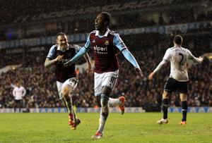 West Ham United's Modibo Maiga celebrates scoring his side's second goal during the Capital One Cup match at White Hart Lane, London