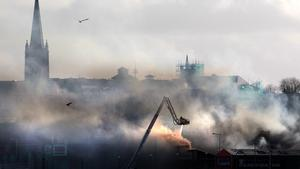 The scene of a major fire at food premises along the river front in Derry city on Wednesday. Picture: Margaret McLaughlin
