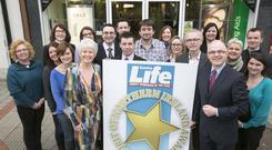 The 2014 launch of Sunday Life Spirit of Northern Ireland Awards. Frank Mitchell, Martin Breen, Tony McGinn and Pamela Ballantine are joined by Specsavers store managers