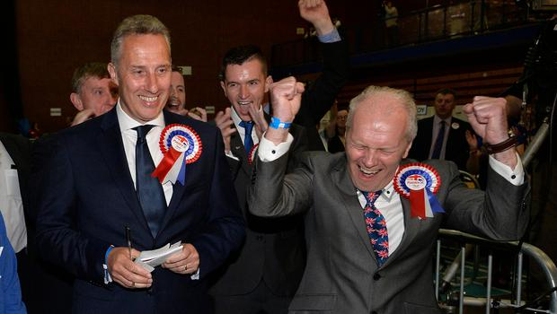 Clockwise from main: Ian Paisley celebrates with supporters