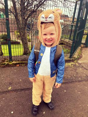 Freddie Hutchinson age 5 from Belfast as Peter Rabbit
