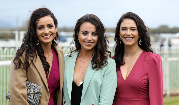Kathryn Boyle, Sinead Mulholland and Nicole O'Neill pictured at Down Royal Photo by Kelvin Boyes / Press Eye.