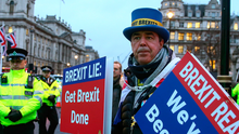 High-profile Brexit protester Steve Bray makes his feelings clear in London last night