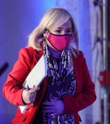 Deputy First Minister Michelle O'Neill pictured at the Executive news conference in Dungannon.