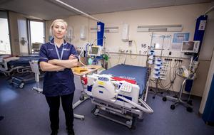 Nurse Marie McNaney showing the new Northern Ireland Nightingale Hospital wards designed to treat coronavirus sufferers at Belfast City Hospital on April 7th 2020 (Photo by Kevin Scott for Belfast Telegraph)