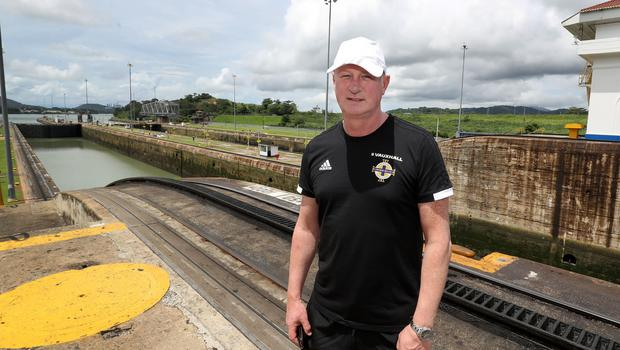 Press Eye - Belfast -  Northern Ireland - 28th May 2018 - Photo by William Cherry/Presseye  Northern Ireland manager Michael O'Neill at the Panama Canal on Monday morning as part of their summer tour to Panama and Cost Rica. The Canal is a 77.1-kilometre ship canal in Panama that connects the Atlantic Ocean to the Pacific Ocean. Photo by William Cherry/Presseye