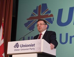 UUP Leader Robin Swann during his speech at  the Ulster Unionist Party Spring Conference. Pic: Pacemaker.