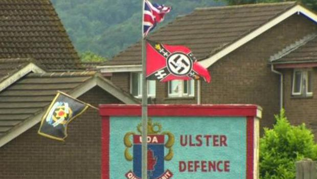 Nazi and paramilitary flags have appeared near a loyalist bonfire in Carrickfergus Pic BBC