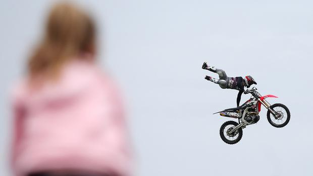 Third day of the 2018 Balmoral Show, in partnership with Ulster Bank, at Balmoral Park.  Free styling motocross display at the show (Jonathan Porter/PressEye)