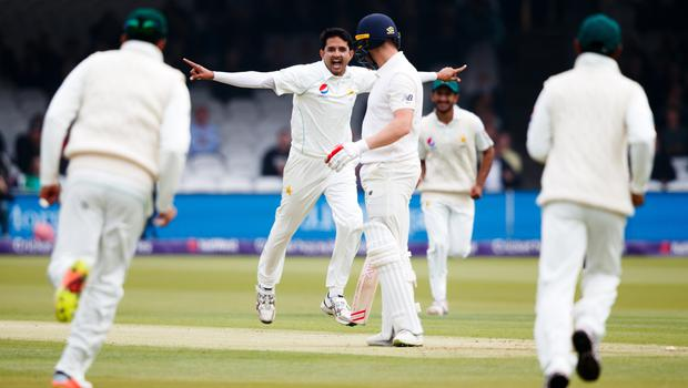 Mohammad Abbas celebrates taking the wicket of Mark Stoneman