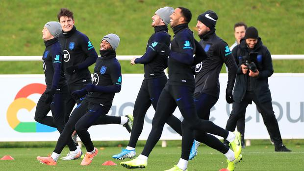 Raheem Sterling, third from the left, during England's training session on Tuesday (Mike Egerton/PA)