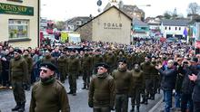 The National Republican Commemoration Committee held an Easter Rising dedication parade in Coalisland on Easter Sunday amid heavy Police presence.