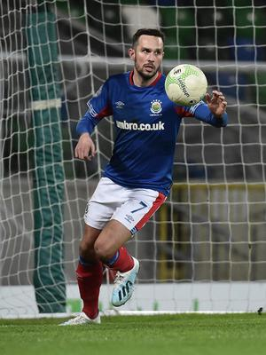 Linfield's Andy Waterworth scores at Windsor Park. Credit: Colm Lenaghan/Pacemaker Press