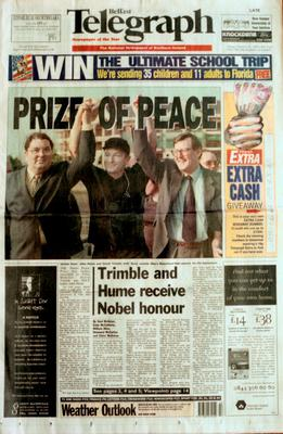 Belfast Telegraph:Page One/Nobel Prize. 14.10.1998. David Trimble, Bono and John Hume. 'PRIZE OF PEACE'