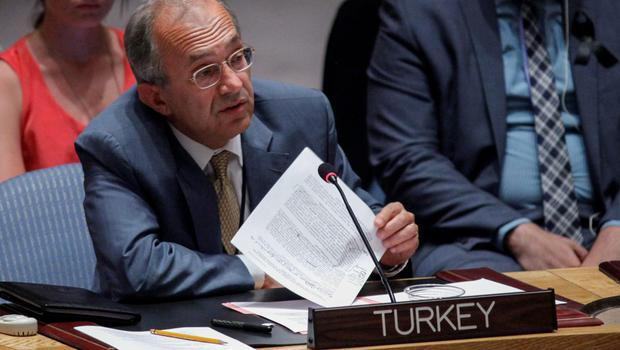 Yasar Halit Cevik, Representative of Turkey to the United Nations, speaks during a Security Council meeting at the UN on July 22, 2014 in New York City. (Photo by Kena Betancur/Getty Images)