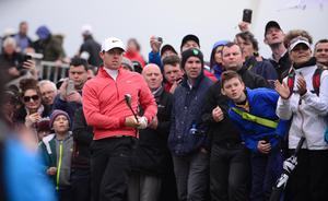 Pacemaker Press Belfast 28-05-2015; Dubai Duty Free Irish Open 2015 : Dubai Duty Free Irish Open Day One Hosted by the Rory Foundation at Royal County Down Golf Club, Newcastle, Northern Ireland. Rory McIlroy pictured on the 18th. Picture By: Arthur Allison.