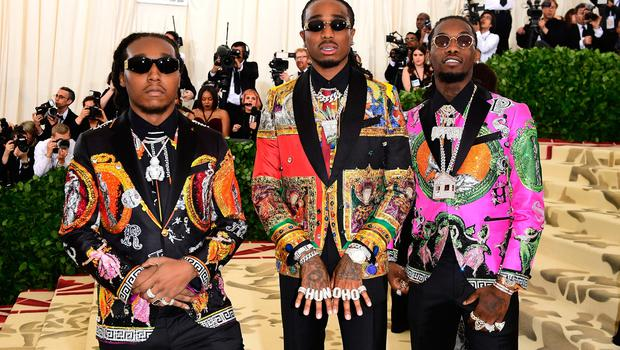 Takeoff, Quavo, and Offset attending the Metropolitan Museum of Art Costume Institute Benefit Gala 2018 in New York, USA. PRESS ASSOCIATION Photo. Picture date: Tuesday May 8, 2018. See PA story SHOWBIZ MET Gala. Photo credit should read: Ian West/PA Wire