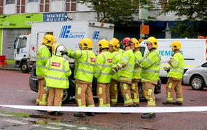 Picture - Kevin Scott / Belfast Telegraph  Monday 14th September 2015, Belfast , Northern Ireland - York Street Crash  Pictured is emergency services at the scene of a second crash on York St where traffic signals have been out from 9pm on Sunday.   Picture - Kevin Scott / Belfast Telegraph