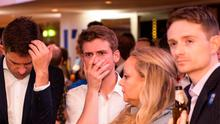 Supporters of the Stronger In campaign react after hearing results in the EU referendum at London's Royal Festival Hall.